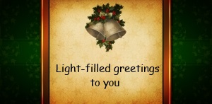 Light-filled greetings to you, christmas bells on golden paper