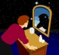 Astrology Readings - showing you your real (often hidden) you. Photo of a person standing in front of a mirror, looking into it.