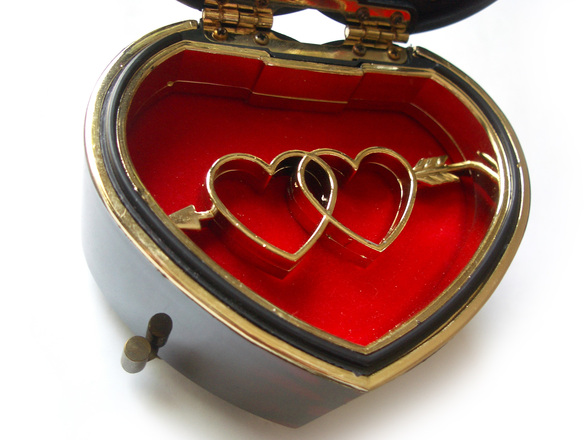 photo of two hearts in a heart shaped box, symbol of marrieage and love