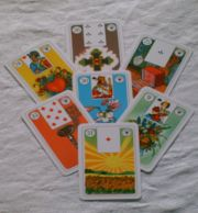lenormand cards, spread with 7 lenormand cards