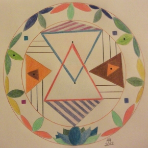 A yantra photo example copyright Eva M April aka TimeForTalking, with symbols and geometric figures. Through it spiritual and astrological benefits can be accessed.